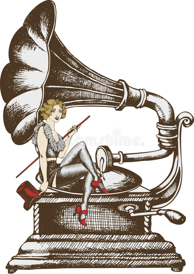 Grammofon y cantante del cabaret ilustración del vector