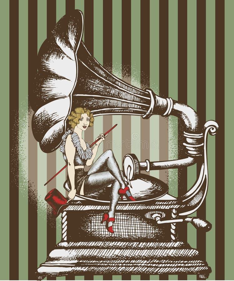 Grammofon y cantante del cabaret stock de ilustración