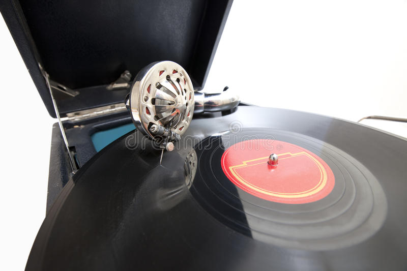 Grammofono dell'annata con il record immagine stock