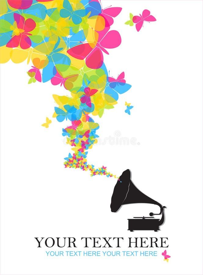 Grammofono dell'annata con le farfalle. royalty illustrazione gratis