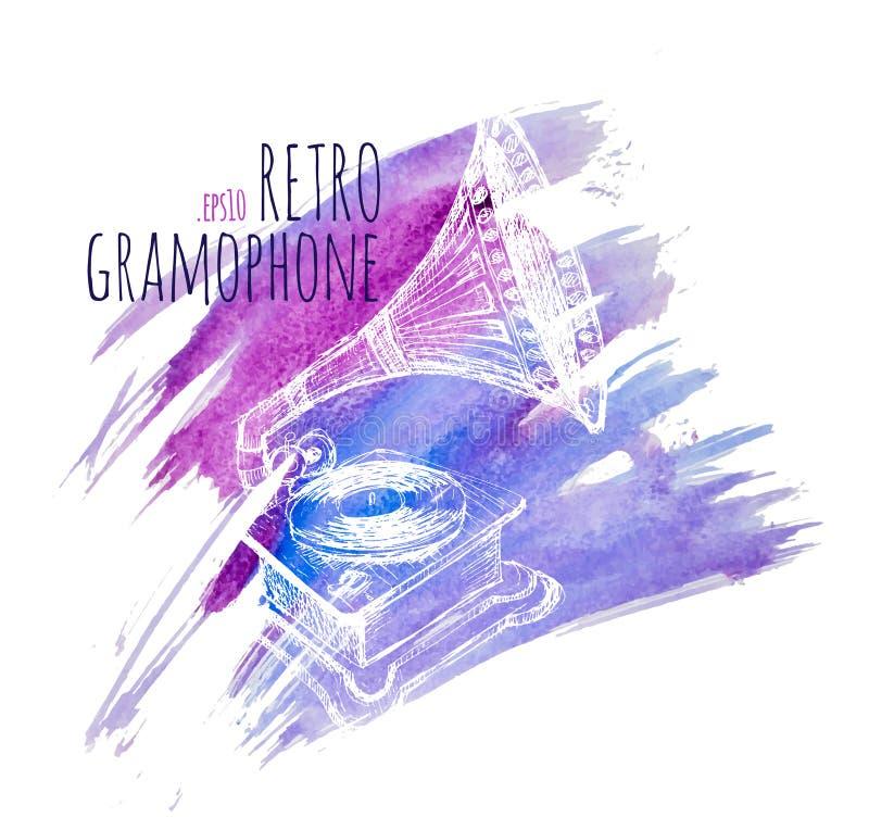 Download Grammofono In Un Retro Stile Alle Cartoline D'annata, Ai Gioielli Ed A Molto Più Illustrazione Vettoriale - Illustrazione di incisione, elemento: 56882417