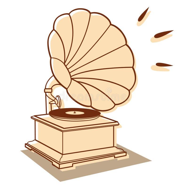 Grammofono vecchio illustrazione vettoriale