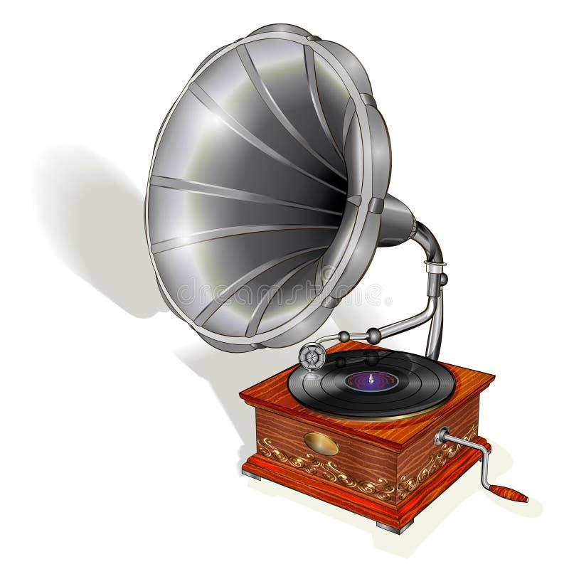 Grammophon lokalisiert auf weißem Hintergrund lizenzfreie abbildung