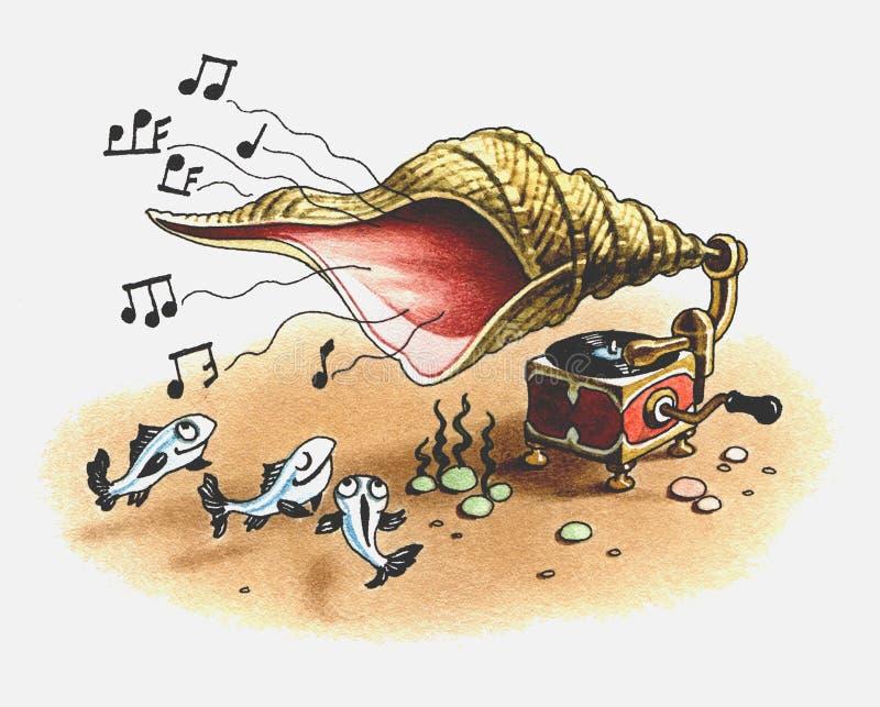 Grammophon spielt Musik für Fische. vektor abbildung