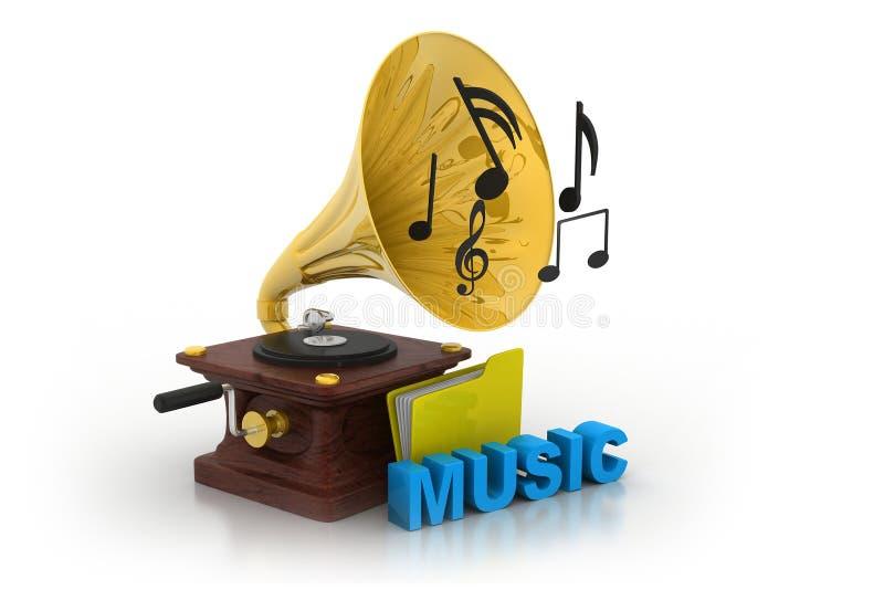 Grammophon und Musikordner lizenzfreie abbildung