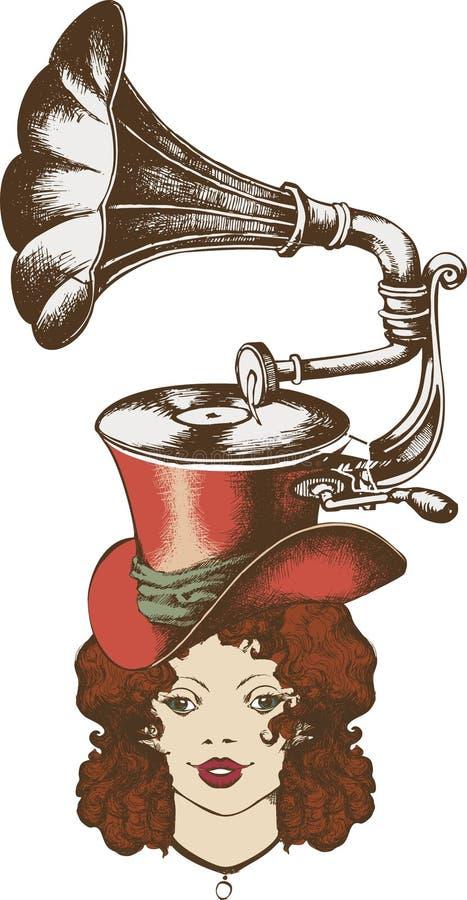 Grammophon und nette Dame stock abbildung