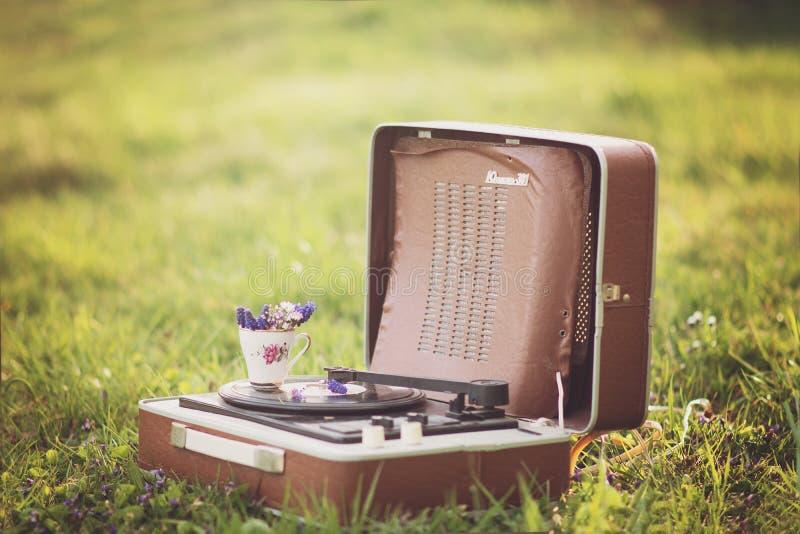 Grammophone in der Natur lizenzfreie stockbilder