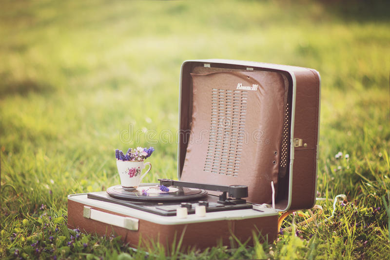 Grammophone in nature royalty free stock images