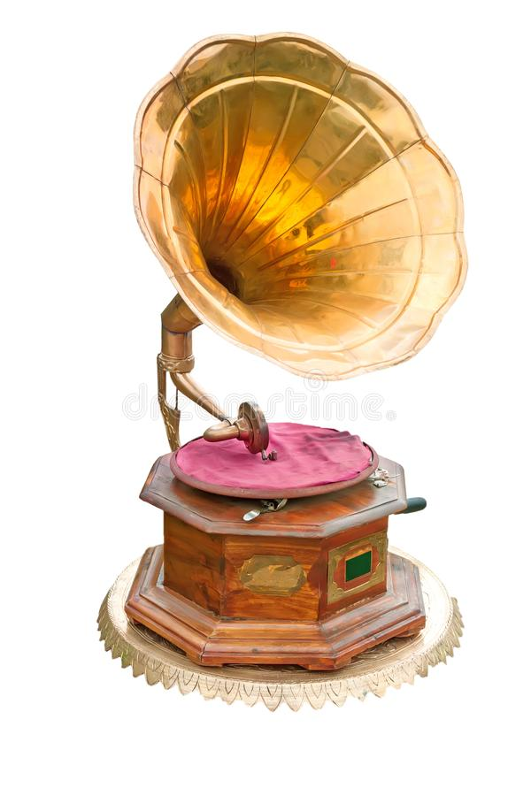 Gramofon z mosiądz trąbką zdjęcie royalty free