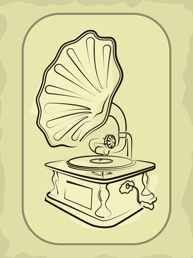 Gramofone antigo do antiquarian ilustração royalty free