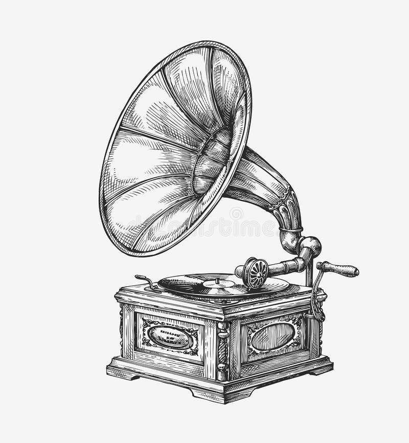 Gramofone desenhado à mão do vintage Música do esboço Ilustração do vetor ilustração do vetor