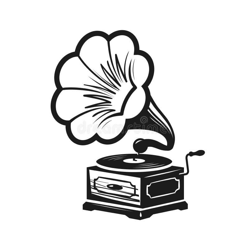 Gramofone, logotipo do fonógrafo ou etiqueta Ícone do jogador de registro Ilustração do vetor do conceito da música ilustração do vetor