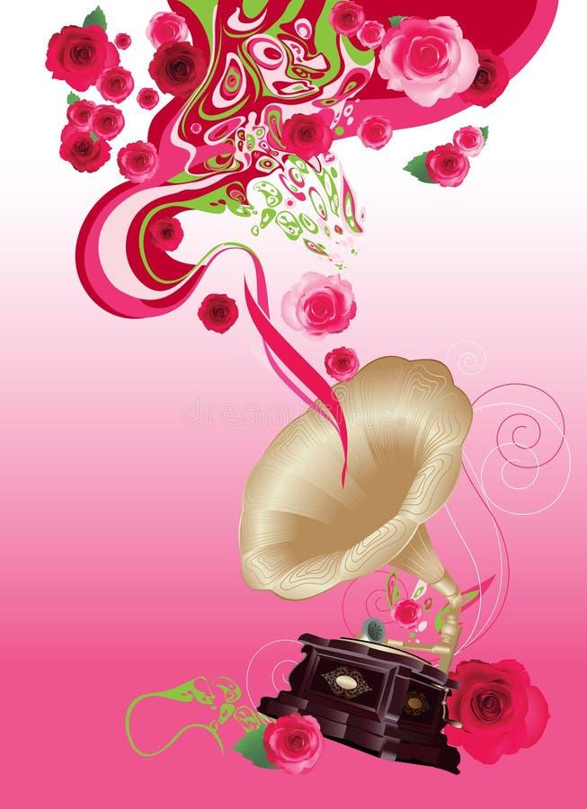 Gramofone no fundo floral ilustração royalty free