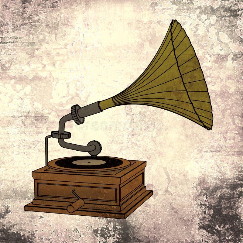 Gramofone velho com fundo do grunge ilustração royalty free