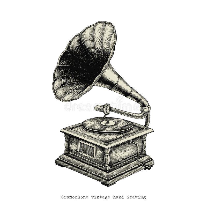 Gramofonowy rocznik ręki rysunek royalty ilustracja