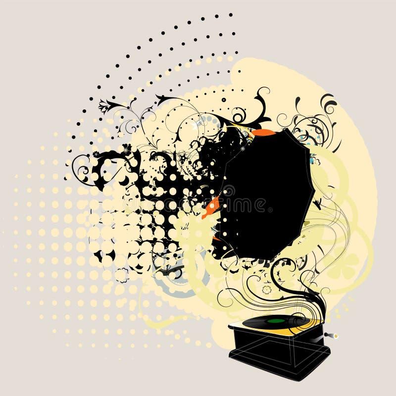 Gramopgone illustration. Gramophone draw on grungy background vector illustration