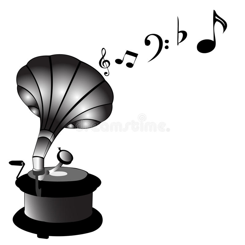 Gramophone. Classic record player playing music vector illustration