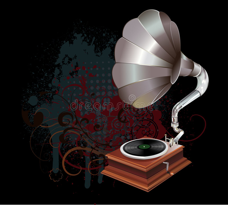 Gramophone. Realistic illustration of a gramophone with floral elements on the background royalty free illustration