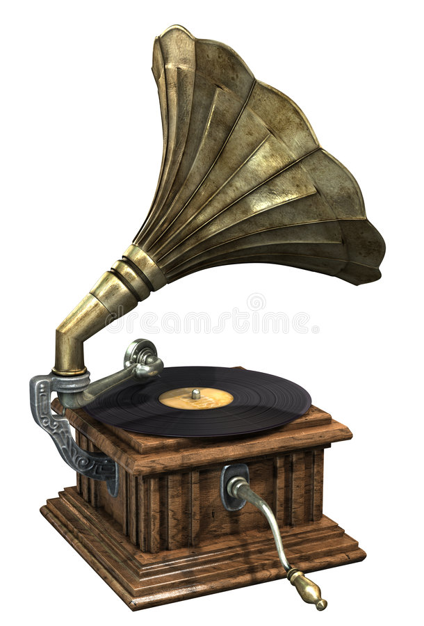 Gramophone. 3d render of antique gramophone royalty free illustration