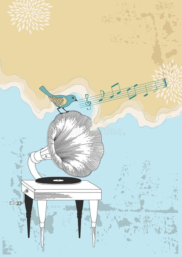 Gramophone and Blue Bird vector illustration