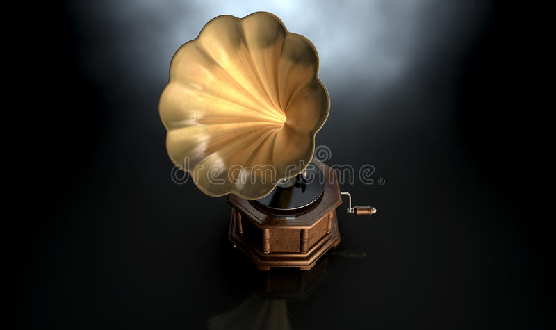 Gramophone Dark Background. An old brass and wood gramophone with a vinyl record on it on an isolated dark background royalty free stock image