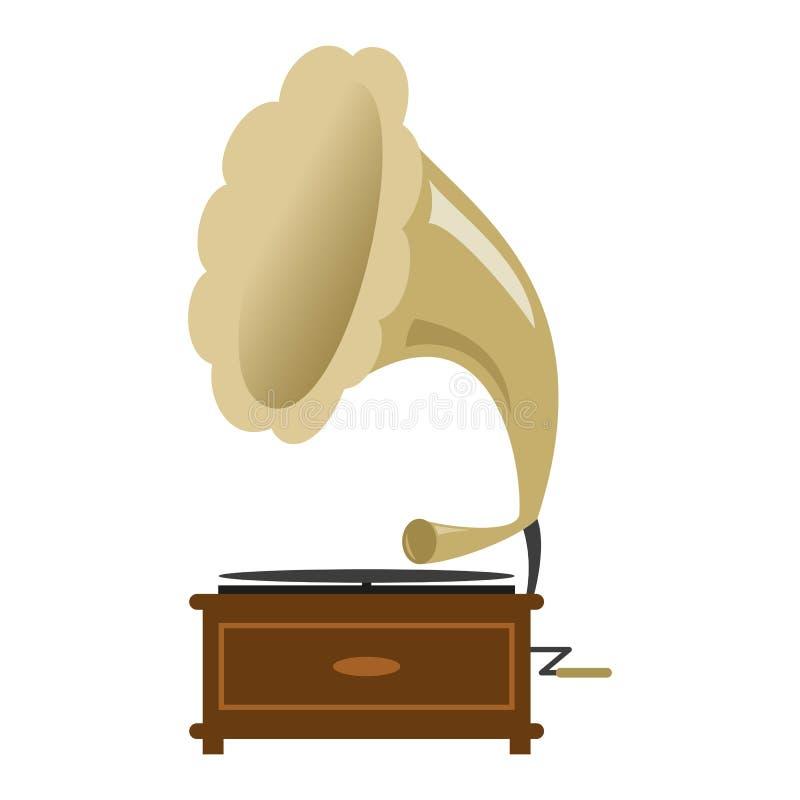 Gramophone icon on the white background royalty free illustration