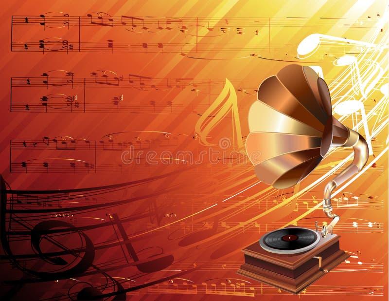 Gramophone on musical background. Gramophone realistic illustration on musical background vector illustration