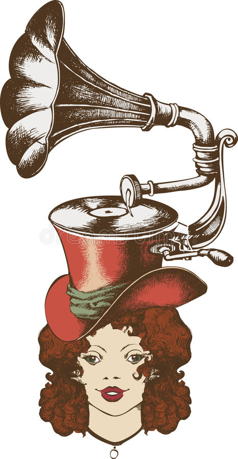 Gramophone and nice lady stock illustration