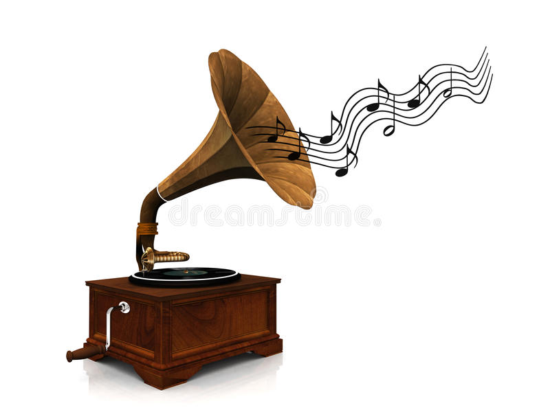 Gramophone playing music. stock illustration