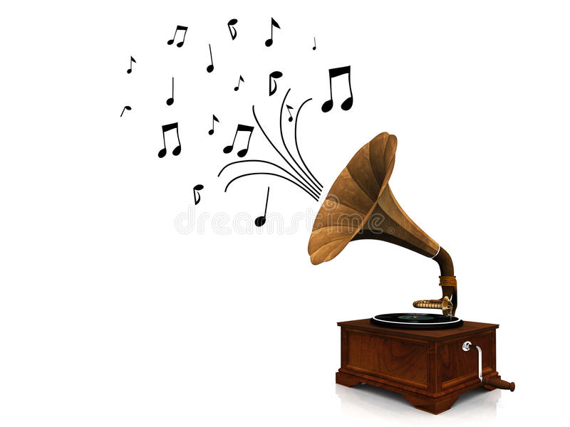 Gramophone playing music. An old antique gramophone with notes coming out from it symbolizing that it's playing music vector illustration
