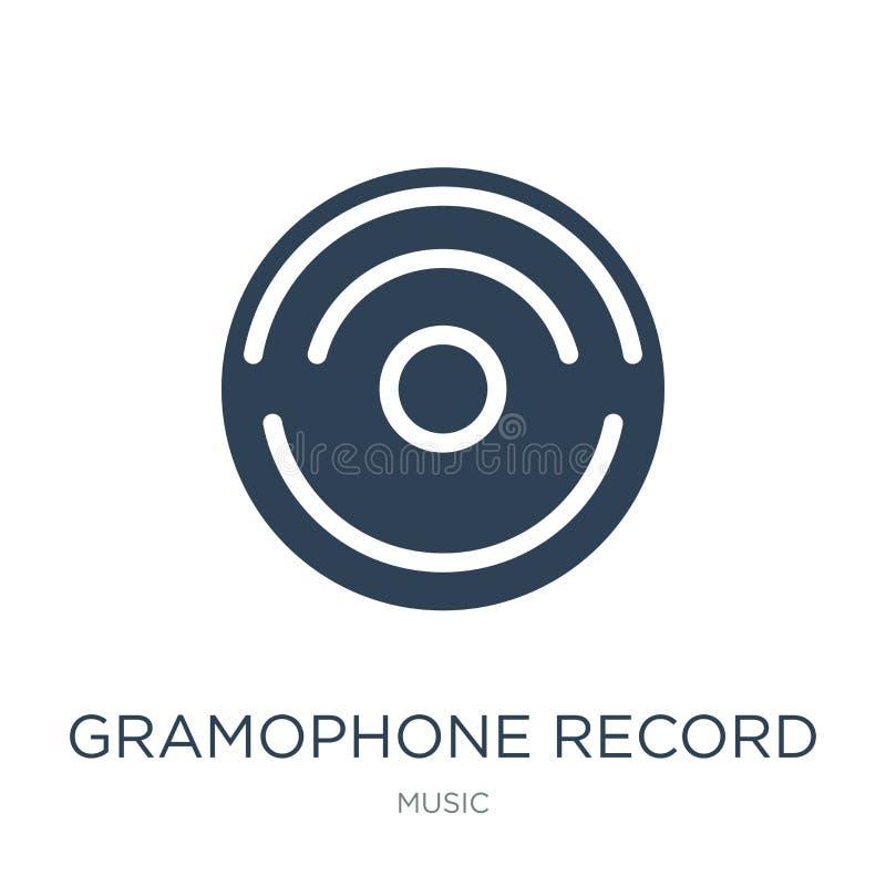 gramophone record icon in trendy design style. gramophone record icon isolated on white background. gramophone record vector icon royalty free illustration