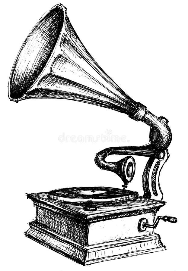 Gramophone sketch vector illustration