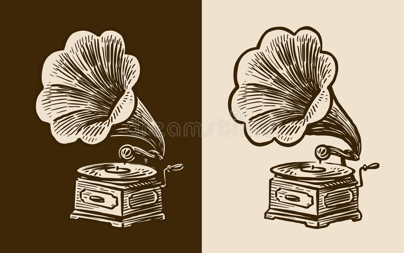 Gramophone sketch. Retro music, nostalgia. Vintage vector illustration royalty free illustration