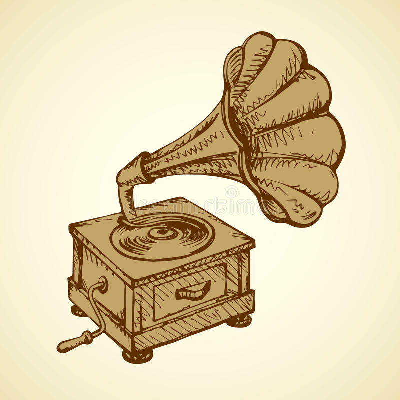 Gramophone. Vector drawing. Aged brass talking machine box isolated on white backdrop. Freehand outline brown ink hand drawn picture sign sketchy in artistic stock illustration