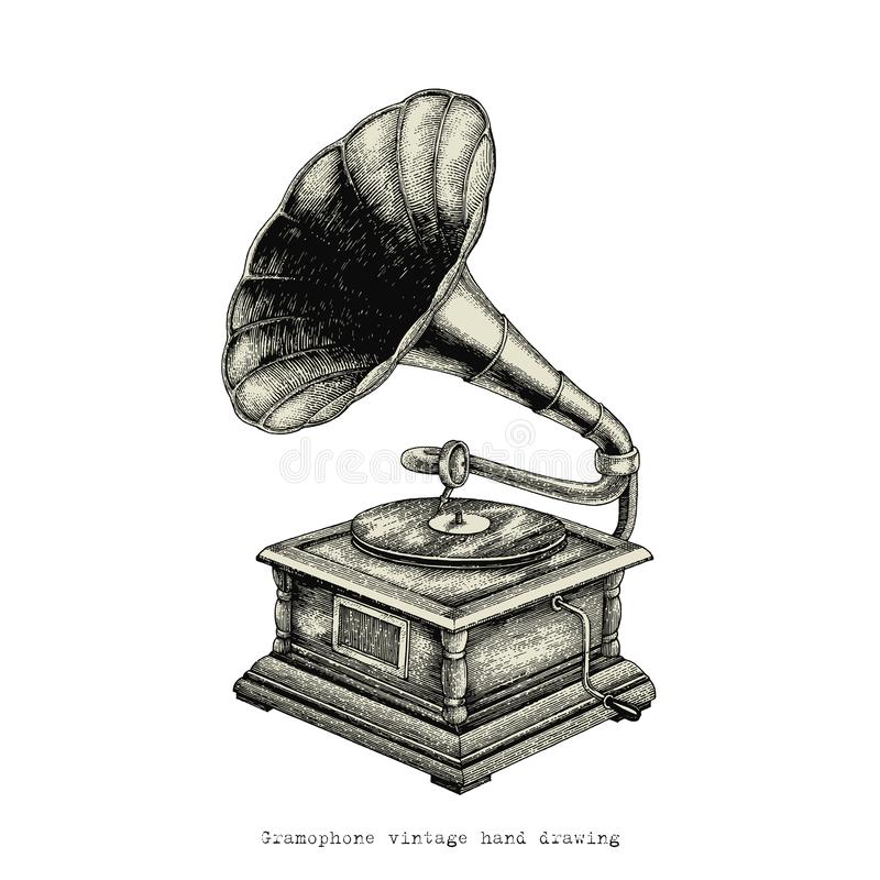 Gramophone vintage hand drawing. Clip art isolated on white background royalty free illustration