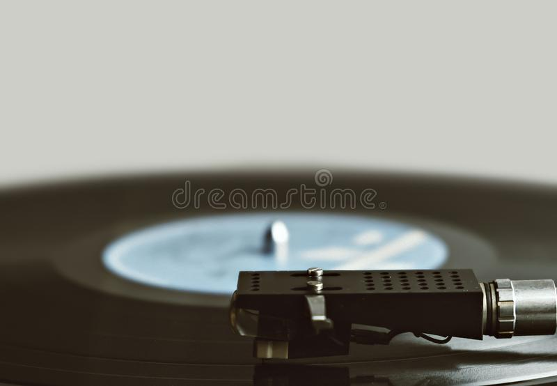 Gramophone with vinyl playing stock images