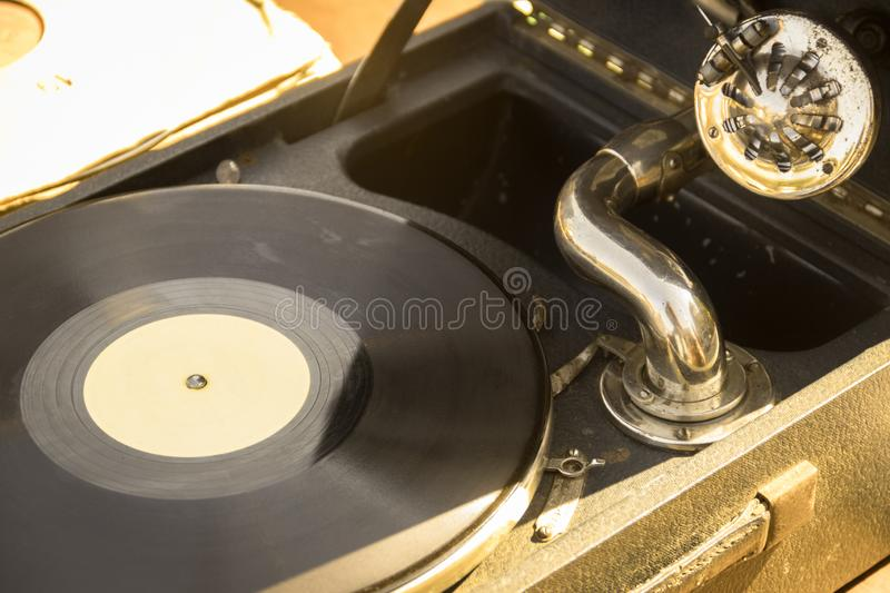 Gramophone with vinyl record. Close-up royalty free stock photography