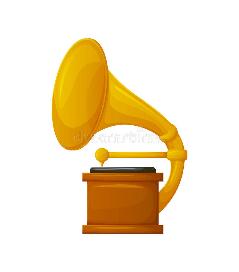 Gramophone with Vinyl Recorder Gold Award Icon stock illustration