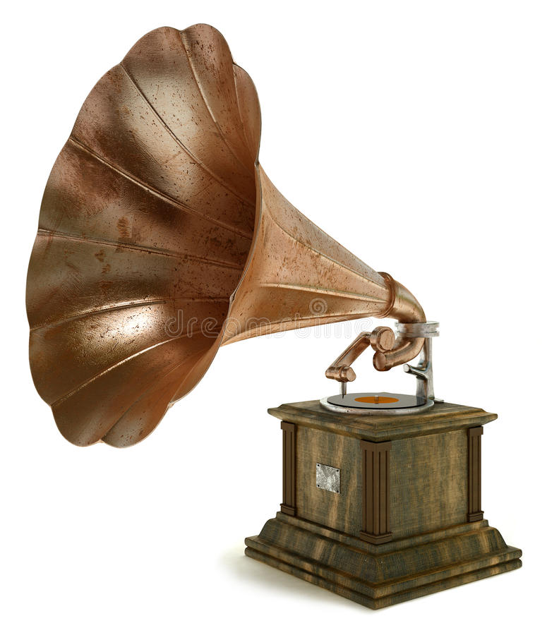 Gramophone on white background. Old gramophone on white background stock illustration