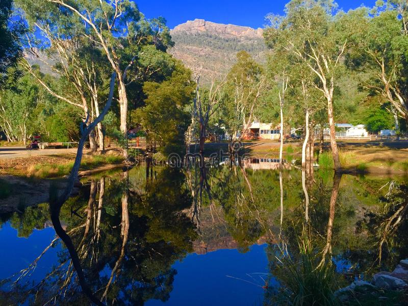 Grampians National Park. Reflection of mountains in a dam stock photo