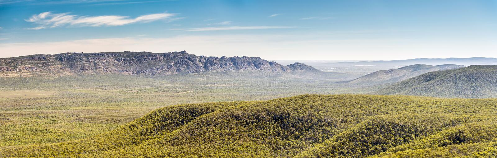 Grampians Panorama. Panoramic view of mountains in the Victoria Valley, Grampians National Park, Victoria, Australia royalty free stock image