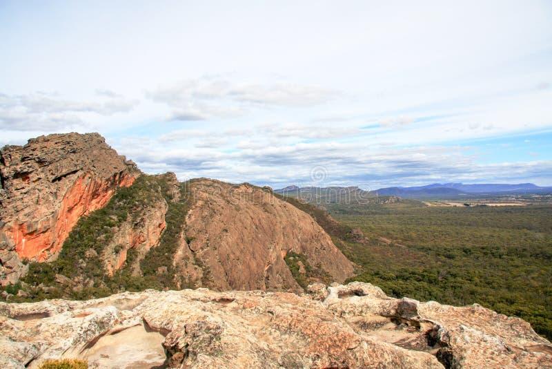 Grampians rock formation landscape. The Grampians rock formation landscape vegetation stock photo
