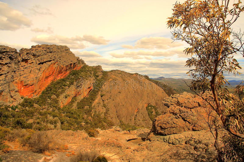 Grampians rock formation. The Grampians rock formation and vegetation stock images