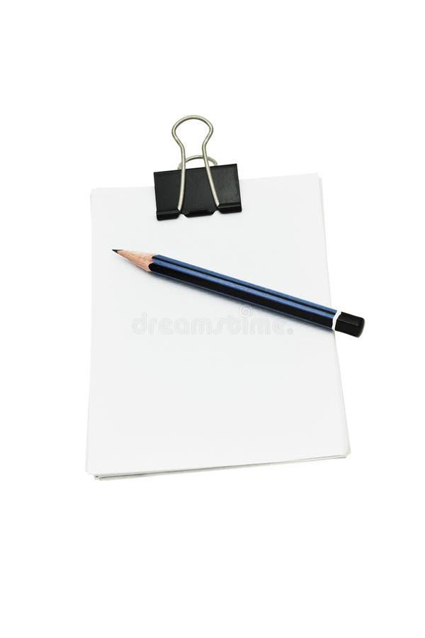 Grampo de papel, lápis e papéis do crocodilo imagens de stock royalty free