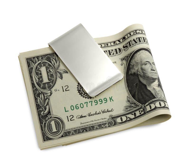 Grampo de prata do dinheiro imagem de stock
