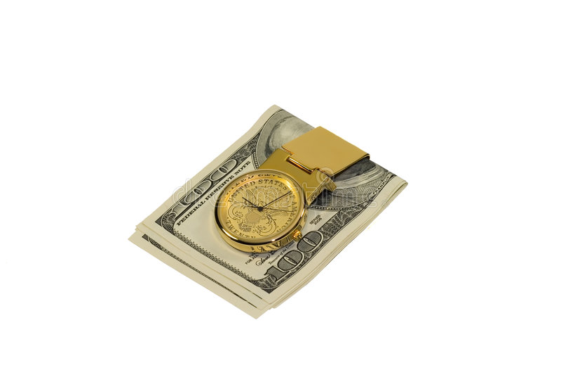 Grampo dourado do dinheiro com os dólares isolados no branco foto de stock