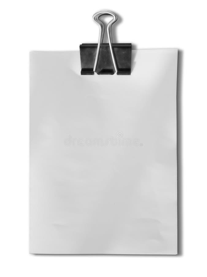 Grampo preto e papel de nota em branco branco foto de stock royalty free