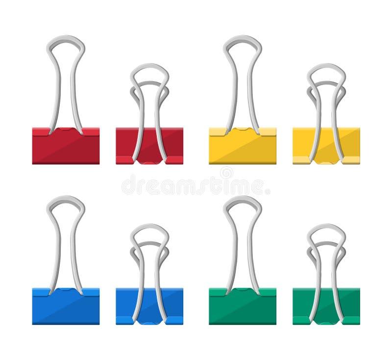 Grampos coloridos da pasta Clothespin de escritório ilustração stock
