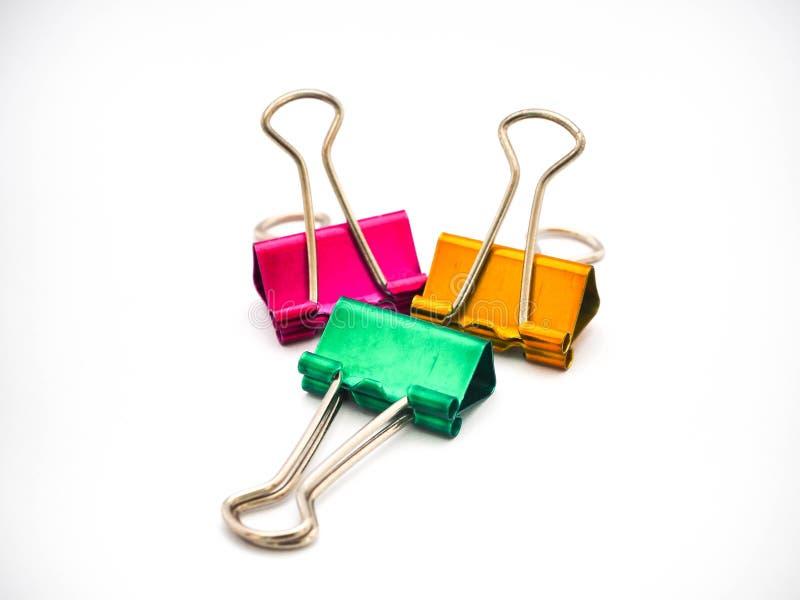 3 grampos da pasta da cor imagens de stock