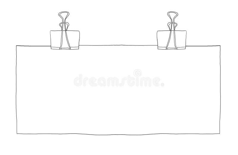 Grampos da pasta e linha longa ilustração do papel vazio da arte ilustração do vetor